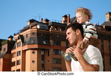 spalle, padre, bambino