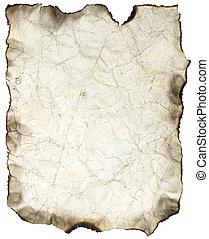 spalony, zmięty, listek