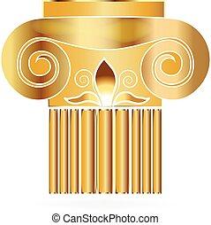 spalte, gebäude, logo