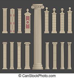 spalte, griechischer , säule, römische architektur