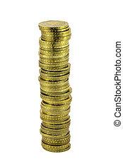 spalte, weißes, geldmünzen, freigestellt