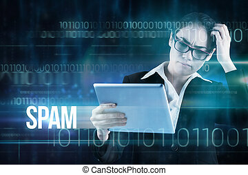 Spam against blue technology design with binary code