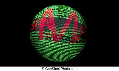 spam, binaire, texte, tourner, sphère, données