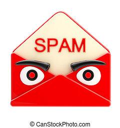 spam, brief, embleem, als, een, boos, rood gezicht,...