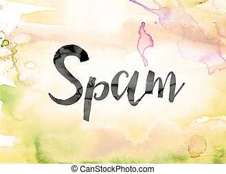 Spam Colorful Watercolor and Ink Word Art