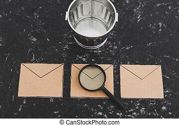 spam, enveloppe, ton, verre, email, icône, casier, inbox, magnifier, déchets, analyser, suivant