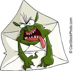 Spam - Cartoon spam in the envelope, vector illustration