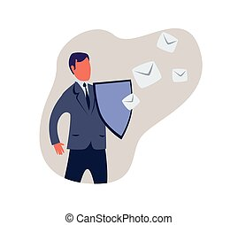 Spam filter, male shield off unwanted advertising messages. Concept vector illustration, isolated on white background.