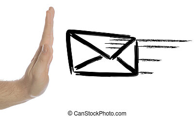 Spam filter - A human hand stopping a flying envelope and...