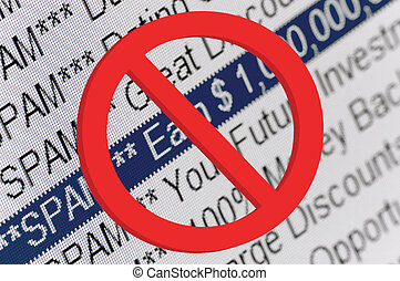 Spam Folder Listing And Red Prohibition Sign Macro - Spam ...