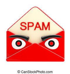 Spam letter emblem as an angry red face envelope isolated on...