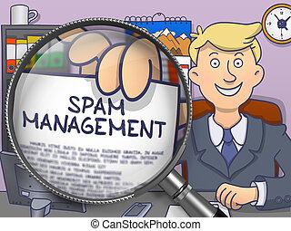 Spam Management through Magnifier. Doodle Concept.