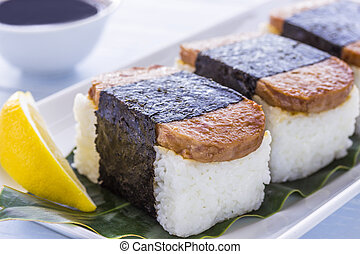 Spam Musubi - Common Hawaiian food of spam, rice and nori...