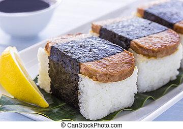 Common Hawaiian food of spam, rice and nori (seaweed)