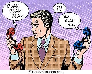 Spam phone bad call business communications businessman work. Retro style pop art. Gadgets technology