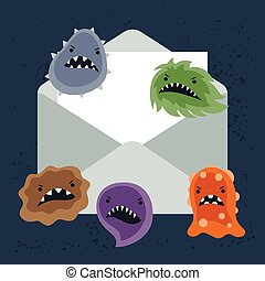 spam, resumen, ilustración, infection., virus, email