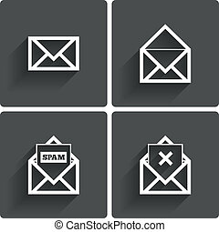 spam, símbolo., icons., correo, letter., borrar