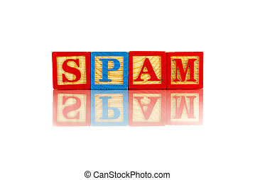 spam word reflection on white background