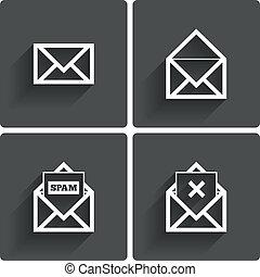 spam, symbol., icons., poczta, letter., usuwać