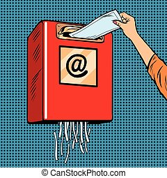 Spam trash junk email pop art retro vector. The destruction...