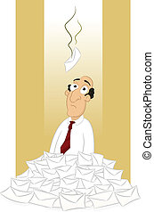 Spam - Sad businessman sitting in pile of spam mail vector...