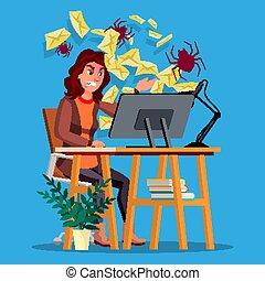 Spam Virus Concept Vector. Woman. Internet Technology....