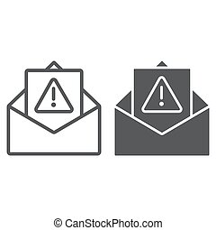 Spam warning line and glyph icon, letter and email, alert...