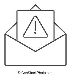 Spam warning thin line icon, letter and email, alert mail...