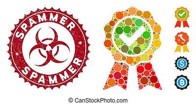 spammer, arranhado, mosaico, selo, melhor, ícone