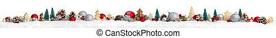 spandoek, breed, extra, kerstmis, achtergrond, witte , grens, of