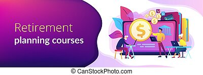 spandoek, concept, pensioentrekkeren, geletterdheid, header., financieel