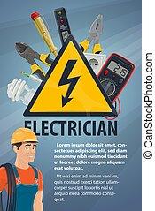spandoek, elektrisch, werktuig, elektromonteur, uitrusting