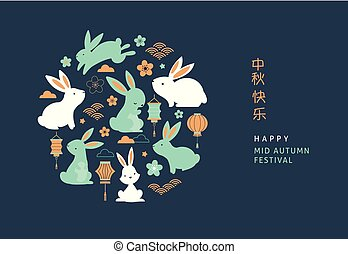 spandoek, festival., poster, midden, herfst, vector, achtergrond, vrolijke