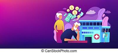 spandoek, kosten, concept, pensioentrekkeren, header., gezondheidszorg