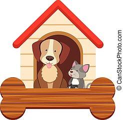 spandoek, mal, met, schattig, dog, en, kat, op, pethouse