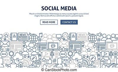 spandoek, media, ontwerp, sociaal