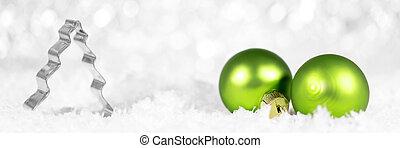 spandoek, met, kerstboom, snijder, en, groene, baubles, met, snowflakes