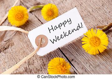 spandoek, met, vrolijke , weekend