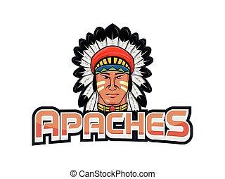 spandoek, ontwerp, apaches, illustratie