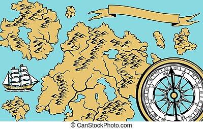 spandoek, oud, map., nautisch