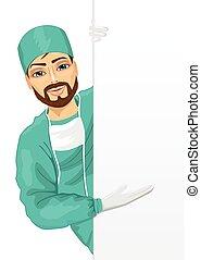 spandoek, schrob, lege, jonge, het voorstellen, groene, chirurg