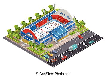 spandoek, stadion, sportende, isometric, complex