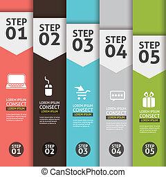 spandoek, (vector, getal, creatief, achtergrond, infographics, design), spandoek, opties
