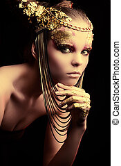 spangled - Art project: beautiful woman with golden make-up....