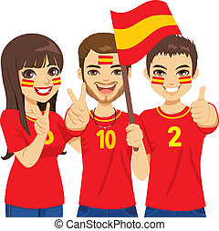 Spaniard Soccer Fans - Young Spaniard soccer fans cheering...