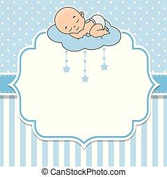 spanie, chmura, chłopiec, niemowlę