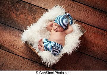 spanie, newborn niemowlę, chodząc, piżama