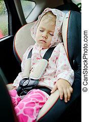 spanie, wóz, dziewczyna
