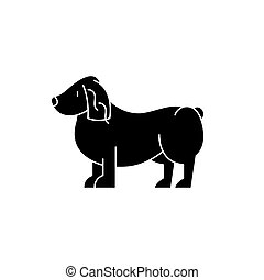 Spaniel black icon, vector sign on isolated background....