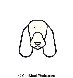 spaniel vector line icon, sign, illustration on background,...